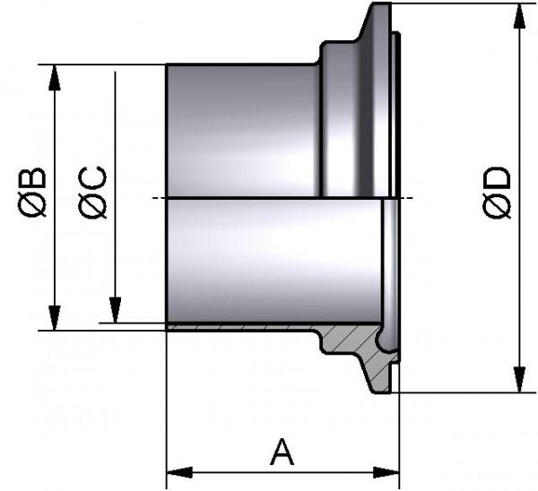 """PharmCom Nutklemmstutzen, ASME, DIN 11864, 1.4435, 3"""" (76,2x1,65mm)"""