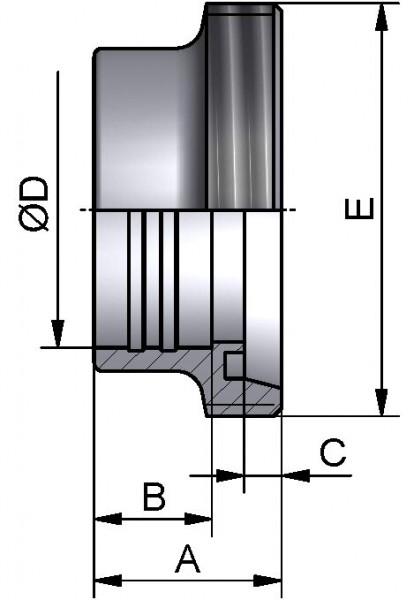 Gewindestutzen, WALZ, AISI 316L bl., DN 100 (104x2mm)