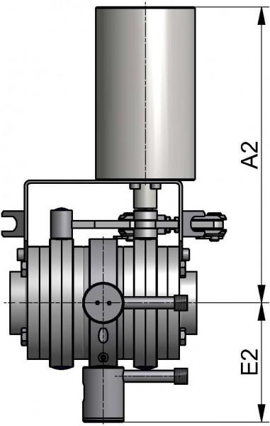 M&S Leckagescheibenventil LSV07, 2LV, DIN-ZF, AISI 304 bl., DN 50, FKM
