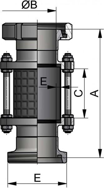 Schaulaterne, DIN-KG, AISI 304 bl., DN 40, NBR, Borosilikatglas, mit Splitterschutz