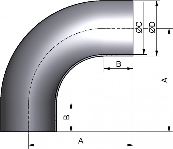 Bogen 90°, DIN 11852-SS, AISI 304L BC pol., DN 32