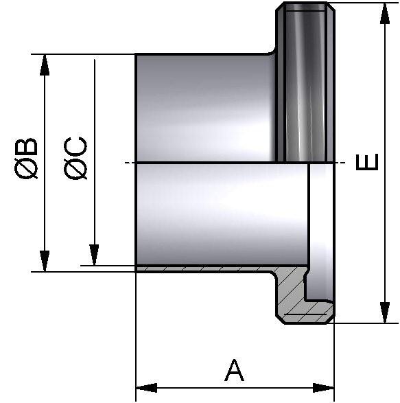 PharmCom Gewindestutzen, ISO, DIN 11864, 1.4435, 60,3x2mm