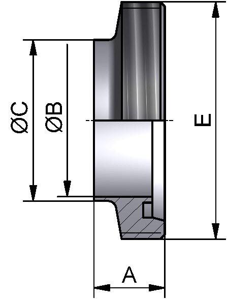 Gewindestutzen kurz, DIN 11851, AISI 304 bl., DN 50 (53x1,5mm)