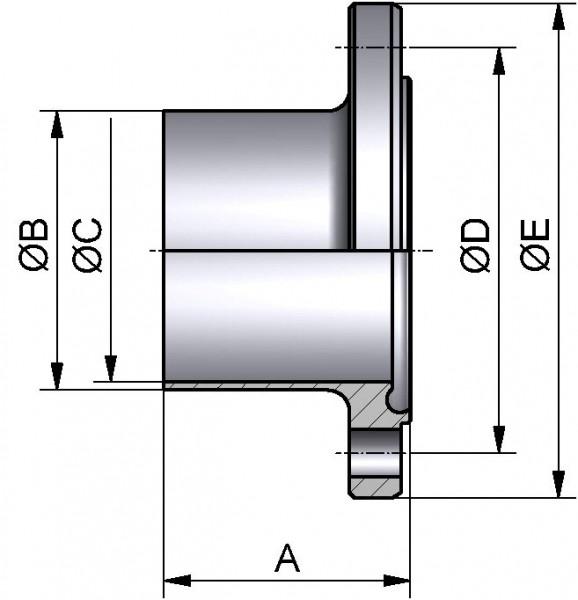 "PharmCom Nutflansch, ASME, DIN 11864, 1.4435, 2"" (50,8x1,65mm)"