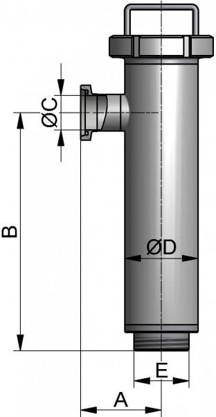 Eckrohrsieb, DIN-GG, AISI 304 pol., DN 32, EPDM