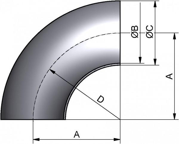 Bogen 90°, DIN 11852-SS, AISI 316L CC pol., DN 50