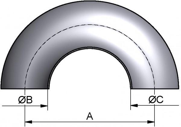 Bogen 180°, DIN-SS, AISI 316L CC mb., DN 40