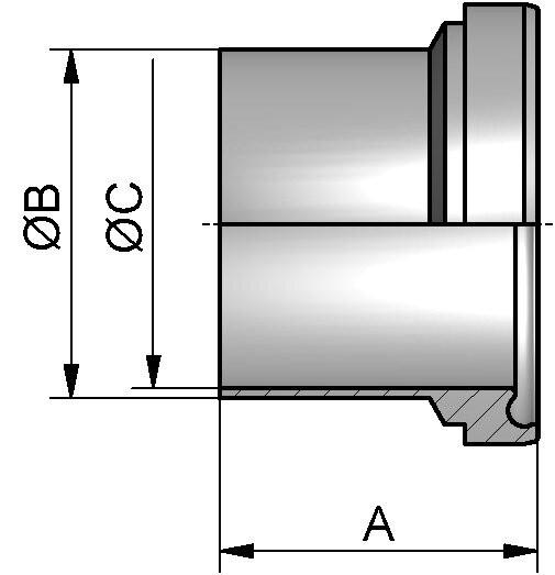 PharmCom Bundstutzen, DIN, DIN 11864, 1.4435, DN 40 (41x1,5mm)