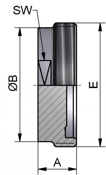 PharmCom Blindewindestutzen, ISO, DIN 11864, 1.4435, 21,3mm
