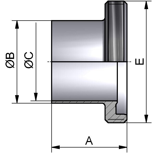 PharmCom Gewindestutzen, DIN, DIN 11864, 1.4435, DN 65 (70x2mm)