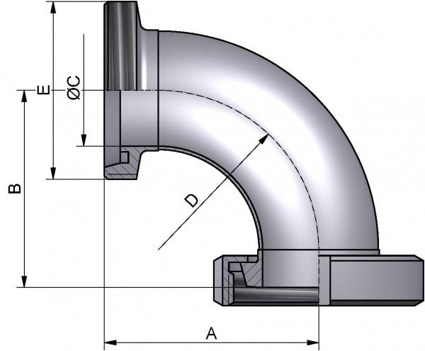 Bogen 90°, DIN-KG, AISI 316L matt, DN 80
