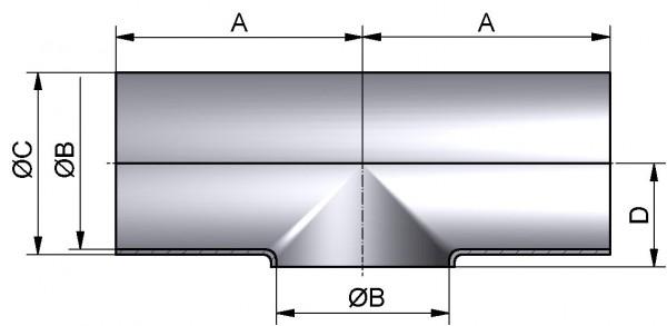 """T-Stück kurz, ZOLL-SSS, AISI 316L mb., 4"""""""