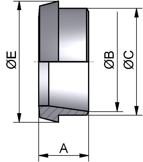 Kegelstutzen, ISO, AISI 316L bl., 60,3mm