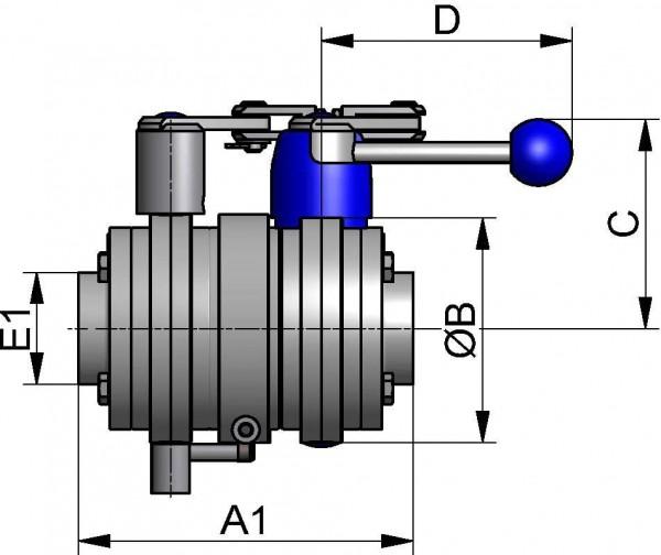 M&S Leckagescheibenventil LSV07, 1LV, DIN-ZF, AISI 304 bl., DN 100, FKM