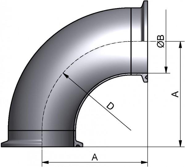 Bogen 90°, DIN-CC, AISI 316L matt, DN 10