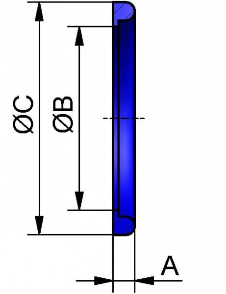 Dichtring G mit BUND, VMQ (SILIKON TRANSPARENT), DN 125x7mm