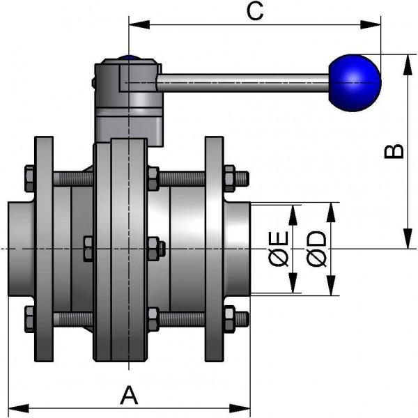 M&S Kugelventil, DIN-ZF, AISI 316L bl., DN 100, PTFE / FEP