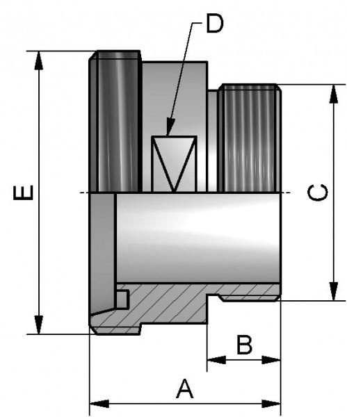 """Einschraub Gewindestutzen, AISI 316L bl., DN 10  x AG 3/8"""", SW 17mm"""