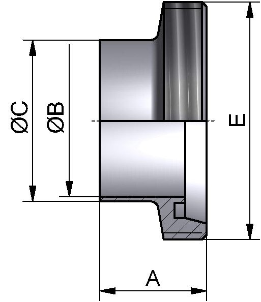 Gewindestutzen, DIN 11851, AISI 316L bl., DN 10 (13x1,5mm)