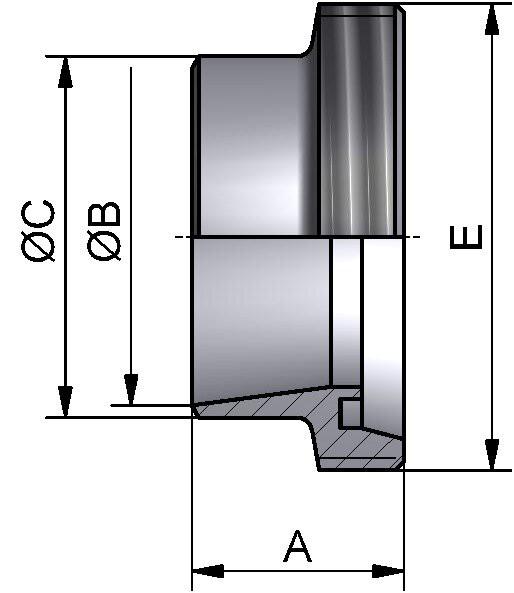 Gewindestutzen, ISO, AISI 304 bl., 168,3mm