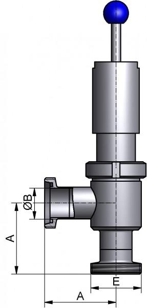Überström-Eckventill, DIN-GG, AISI 304 pol., DN 65, NBR