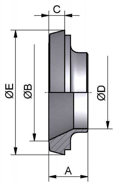 Kegelstutzen reduziert, AISI 316L bl., DN 50/32