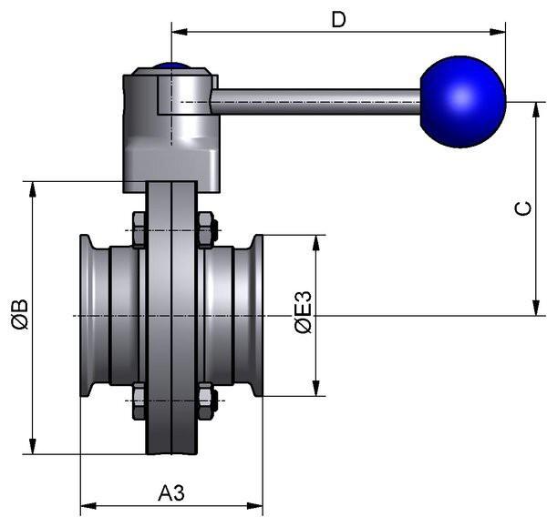 M&S Scheibenventil CLASSIC, DIN-CC, AISI 316L bl., DN 32, EPDM